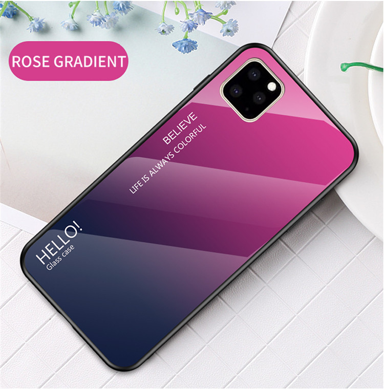 Ollyden Gradient Tempered Glass Cases for iPhone 11/11 Pro/11 Pro Max 16