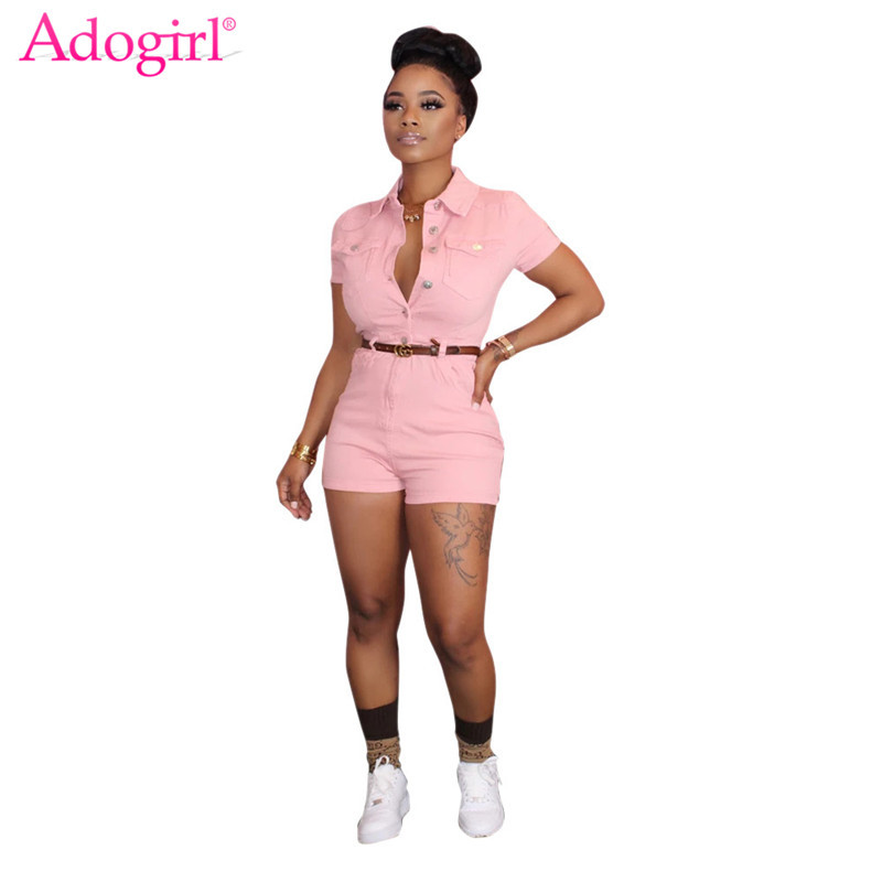 Adogirl Women Solid Jeans Jumpsuit Buttons Up Turn Down Collar Short Sleeve Shorts Romper Casual Denim Playsuit Sexy Overalls