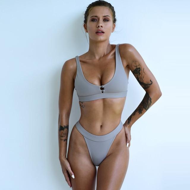 2021 New Sexy Bikini Women Two Pieces Swimsuit Button Swimwear Female Solid Bathing Suit Summer Beach Wear Swimming Suit Biquini 1