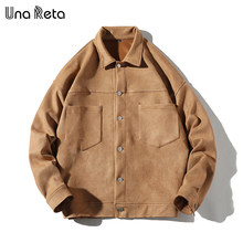 Una Reta Suede Man Jacket Autumn New Pockets Single-breasted Coat Jackets Men Hip Hop Plus Size Streetwear Patchwork Jacket(China)