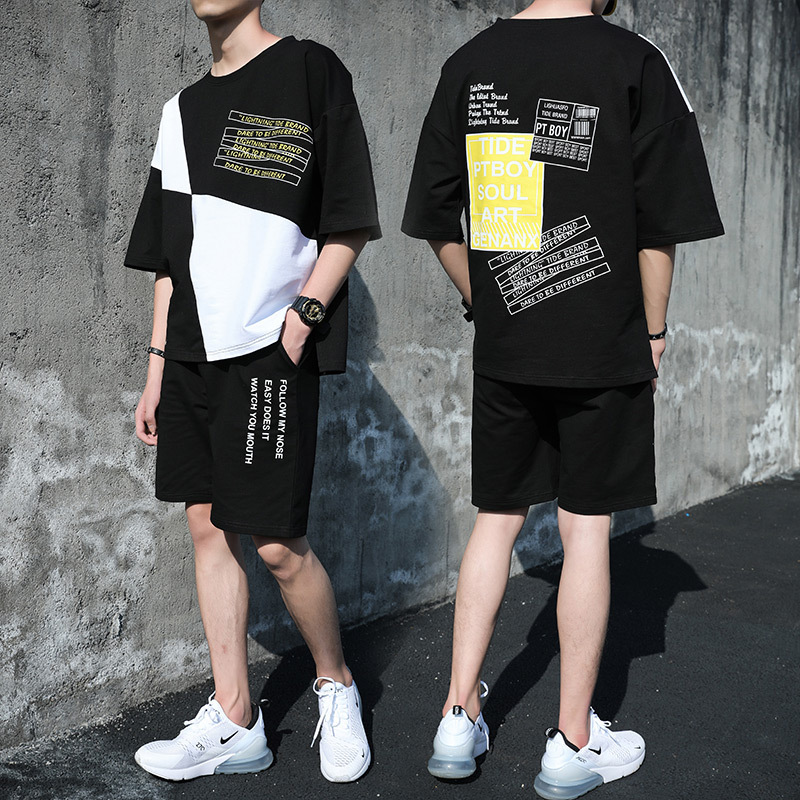Summer Two-Piece Set MEN'S Short-sleeved T-shirt Junior High School Students Korean-style Trend Casual Shorts A Set Of Clothes M
