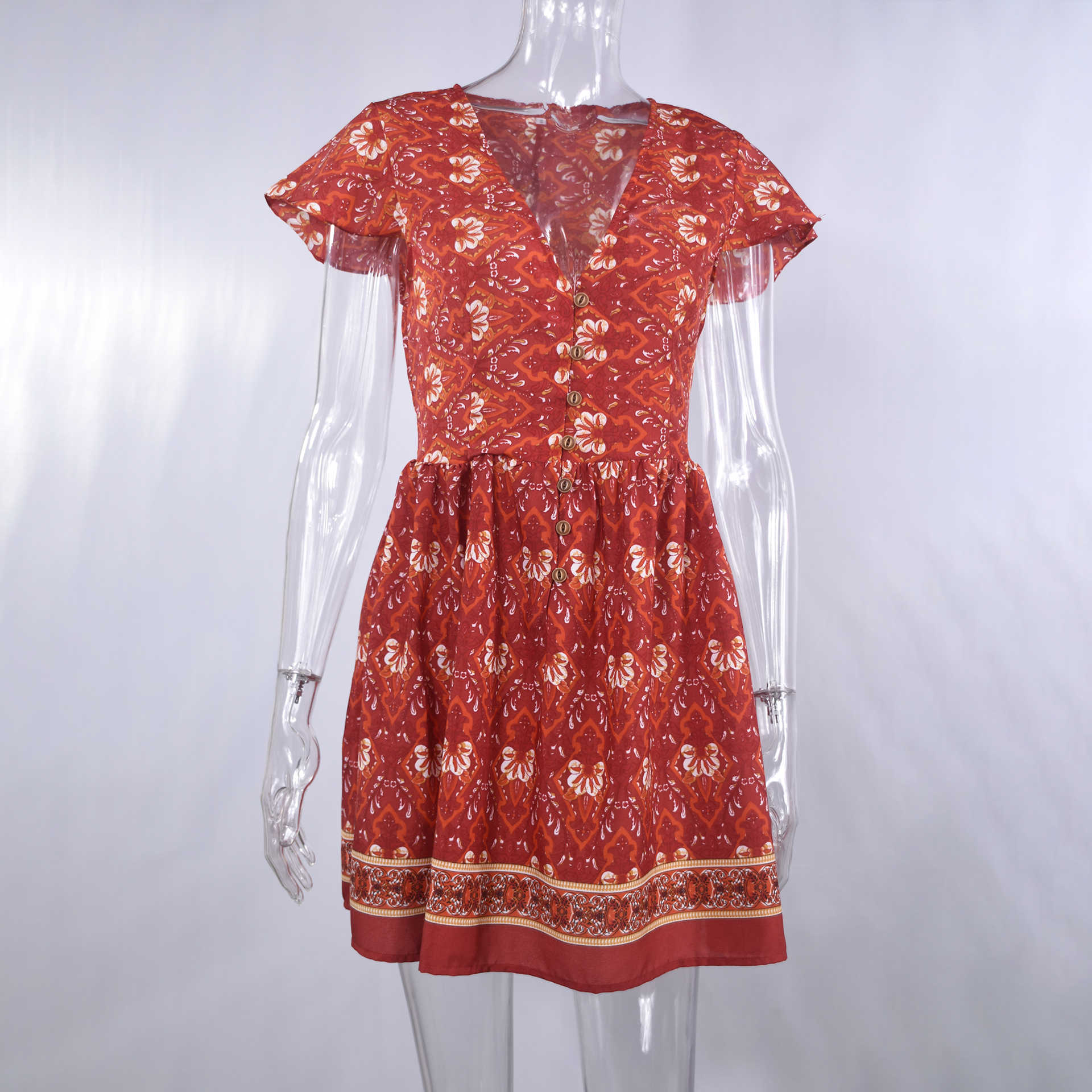 Gaun Wanita Gambar Bunga Kasual Musim Panas Pantai Pendek Mini Sundress Bohemian Pakaian Liburan 2020 Hitam Merah Gaun untuk Wanita