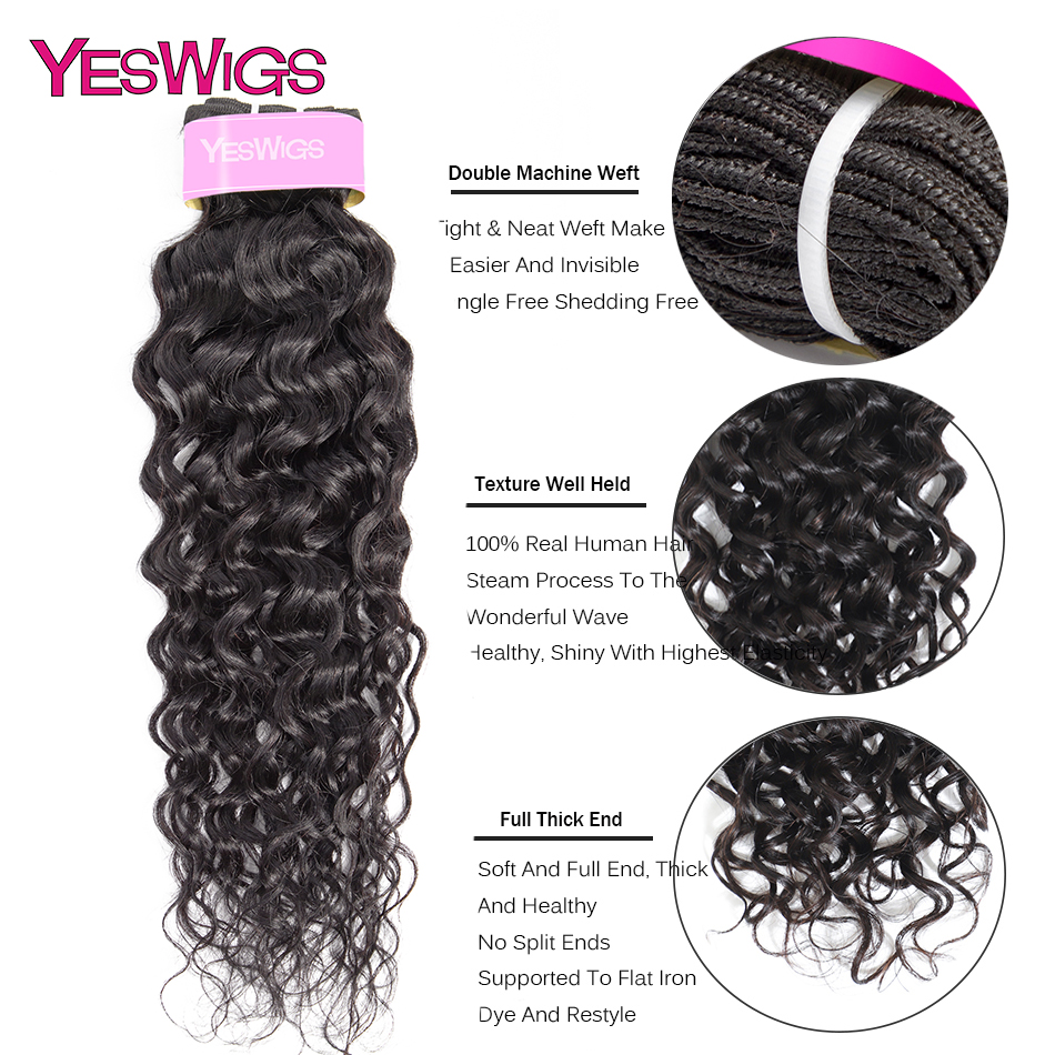 Yeswigs Hair Water Wave Bundles Indian Non-remy Hair Extensions 100% Human Hair Weave Bundles Natural Color 8inch -26inch  (2)