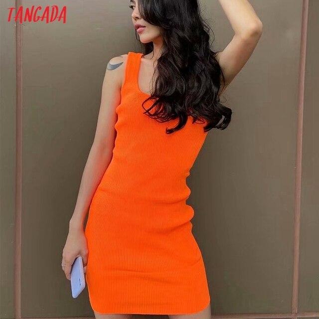Tangada 2021 Women Candy Color Knit Party Dress Strap Sleeveless Ladies Sexy Short Dress Vestidos LK15 2