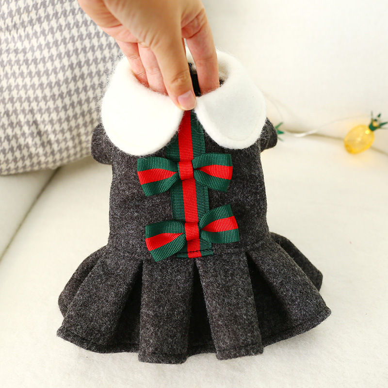 Cute Xmas Bow-tie <font><b>Dog</b></font> <font><b>Dress</b></font> Autumn Winter Christmas Skirt Princess Style Pomeranian Bichon Puppy <font><b>Dog</b></font> <font><b>Dresses</b></font> <font><b>XS</b></font> S M L XL image