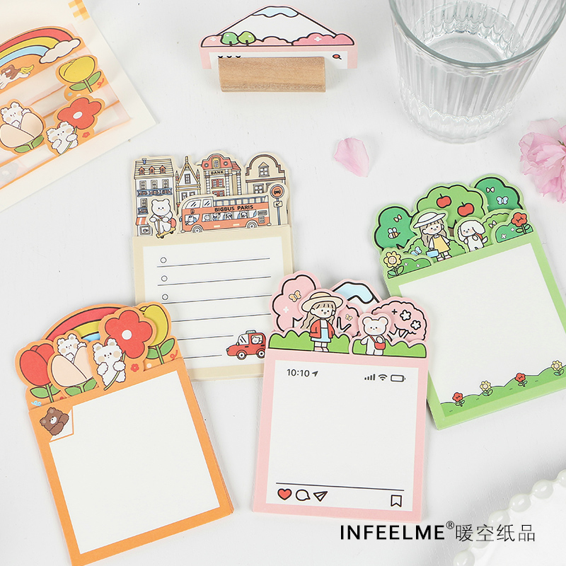 30Pcs\DIY Creative Cute Retro Personality Fun Can Tear Post-it Notes Message Student Stationery Office Supplies Notebook