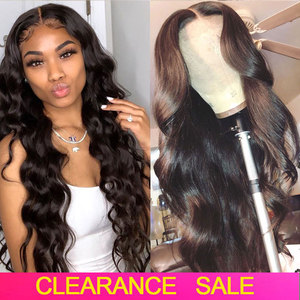 Cheap HD Transparent Lace Frontal Wigs Brazilian Body Wave Wig 180 Density Wavy Lace Front Wig T PART Lace Front Human Hair Wigs(China)