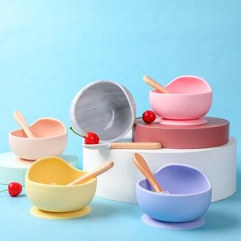 Miseczka silikonowa dla dzieci naczynia do jadalni dla dzieci zastawa stołowa do karmienia łyżka BPA wolna zastawa stołowa puchar przyssawka mocowanie dzieci miska i łyżka