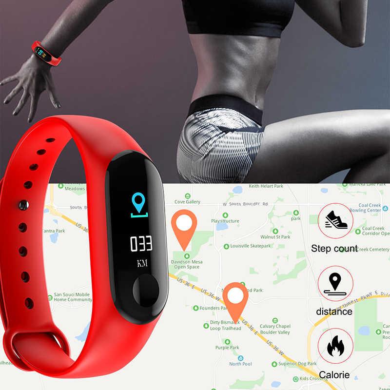 ספורט חכם שעון חכם להקת צמיד M3 לחץ דם צג עמיד למים חכם Wristbands Smartband כושר גשש שעון