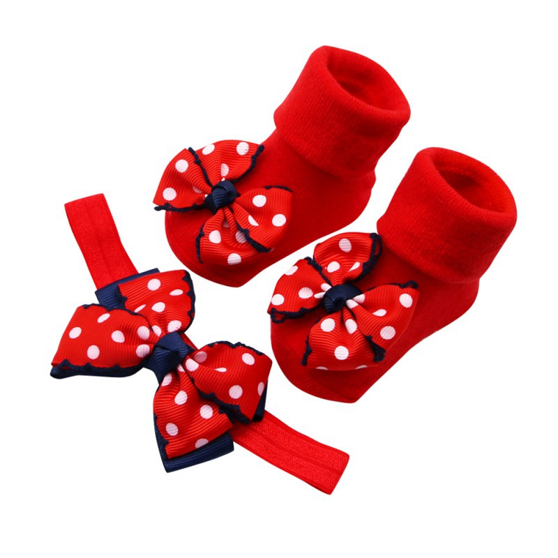 2PCS/Set Baby Socks For Girl Bebe Toddler Newborn Sock + Bow Headband Infant Anti Slip Cotton Socks Glue Birthday Sock 0-1Years