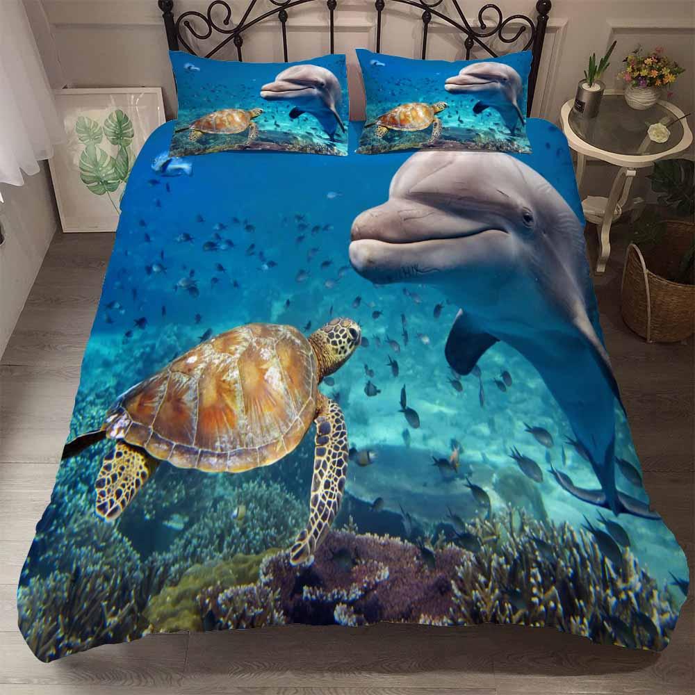 BEST.WENSDa13 Quality Super Soft Unicorn Bedding Cartoon Duvet Cover Set 3D Dinosaur World Bed Set 2/3pcs Twin Kids Bedding Set