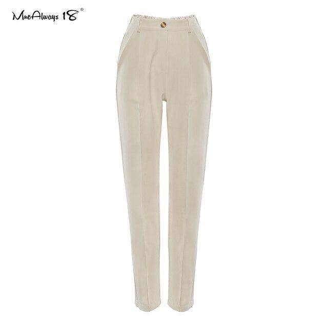 Mnealways18 Vintage Zipper Khaki Trousers Women High Waist Office Pants Ladies Brown Trousers Work Wear Elastic Waist Pants 2020 5