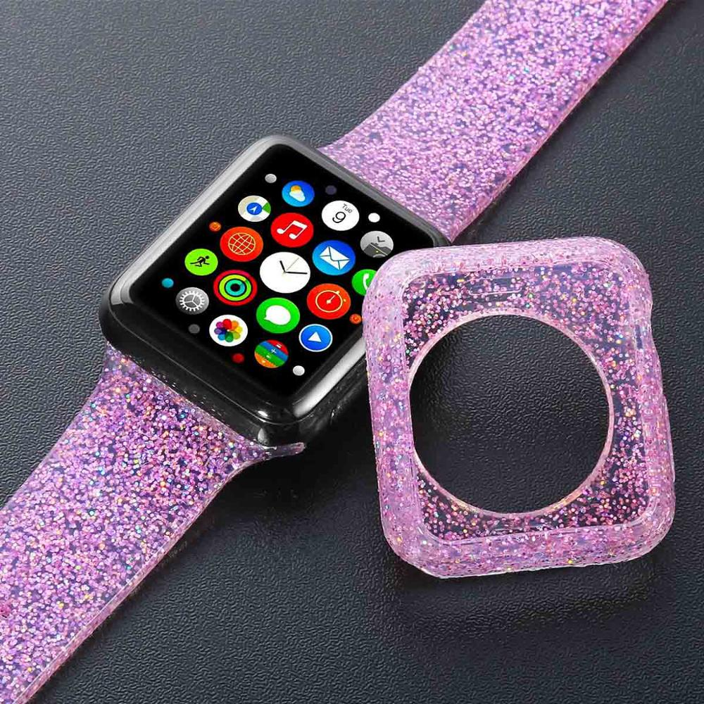 Bling Soft Silicone Strap For Apple Watch 38mm 42mm Band Replacement Rubber Wrist For Iwatch Series 5 4 3 2 1 40mm 44mm