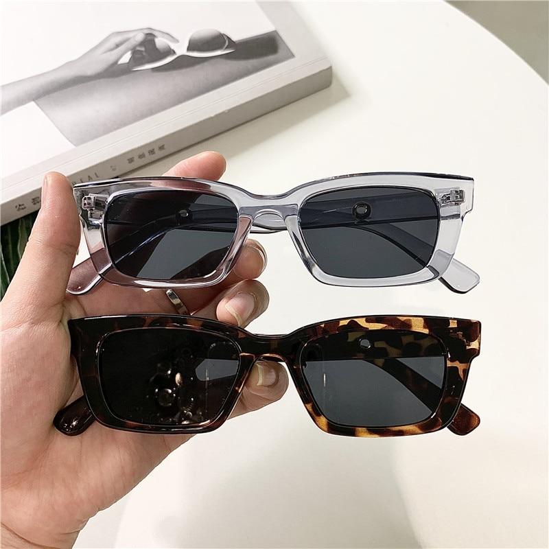 2021 nuove donne rettangolo occhiali da sole Vintage Designer di marca punti retrò occhiali da sole donna Lady occhiali Cat Eye Driver occhiali 1