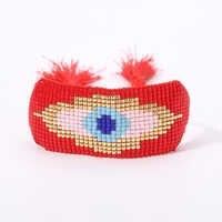 Rttooas Evil Eye Bracelets MIYUKI Seed Beads Width Bangles Handmade Weave Female Accessories