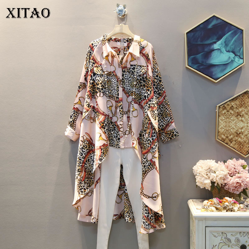 XITAO Vintage Print Pattern Blouse Irregular Small Fresh Casual Single Breast Full Sleeve Goddess Fan Style Shirt DMY3473