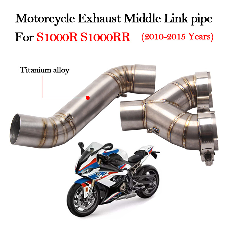 Slip on For S1000R S1000RR 2010 2011 2012 2013 2014 2015 Years Motorcycle Exhaust Titanium alloy Middle Link pipe Escape Muffler