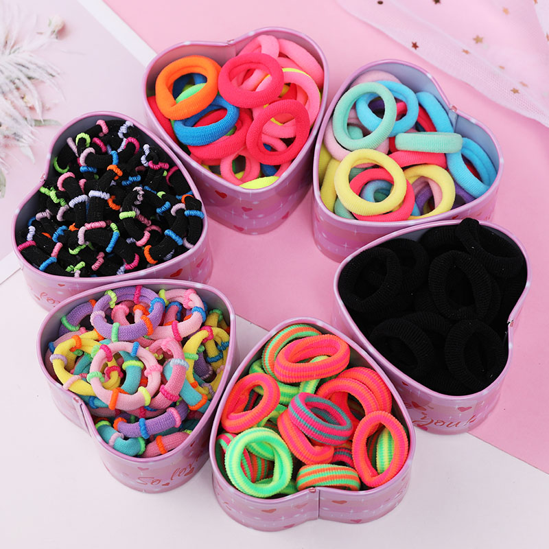 30pcs/Set Colorful Nylon Soft Rubber Bands For Girls Ponytail Holder Children Elastic Hair Bands Scrunchie Kids Hair Accessories