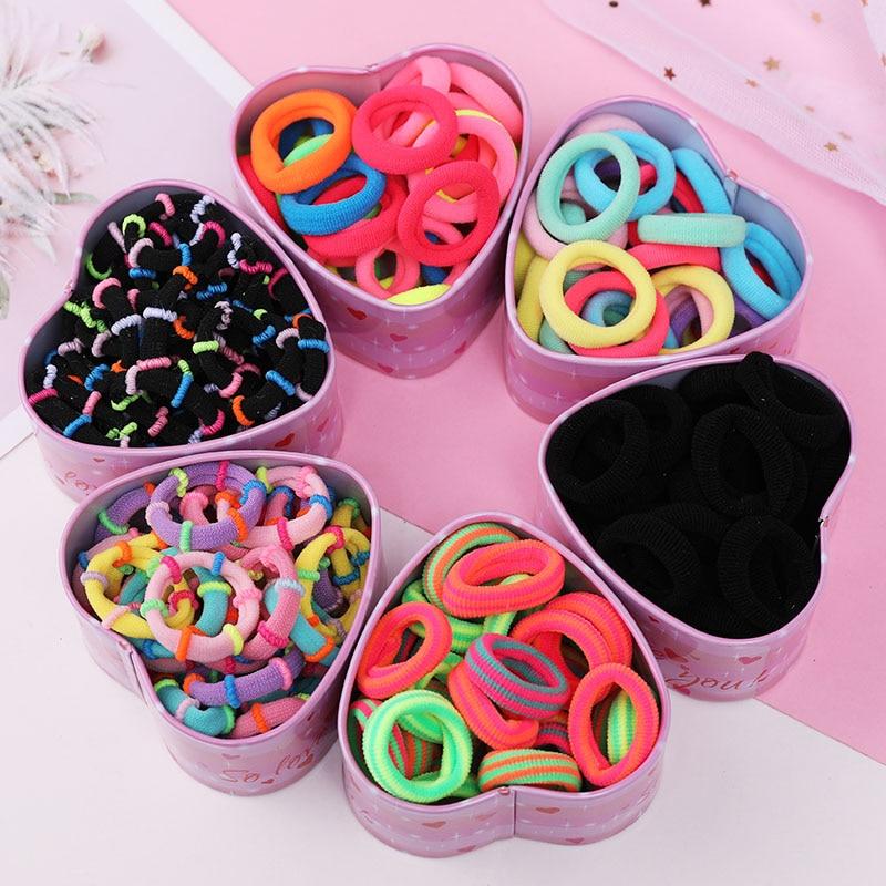 30pcs/Set Colorful Nylon Soft Rubber Bands For Girls Ponytail Holder Children Elastic Hair Bands Scrunchie Kids Hair Accessories