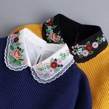 Sitonjwly 43 Styles Fake Collar Stand Lapel Shirt Detachable Collar Women Vintage Lace Floral False Collar Half Shirt Faux Col