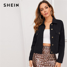 SHEIN Black Single Breasted Button Front Denim Jacket Coat Women 2019 Autumn Streetwear Pocket Patch Casual Outwear For Ladies