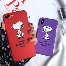 Cartoon Snoopy Cute Red Dog Phone Case for iPhone X XS XR XSmax 8 7 6 6S PluS Half-Pack Hard Drop Protection Back Cover