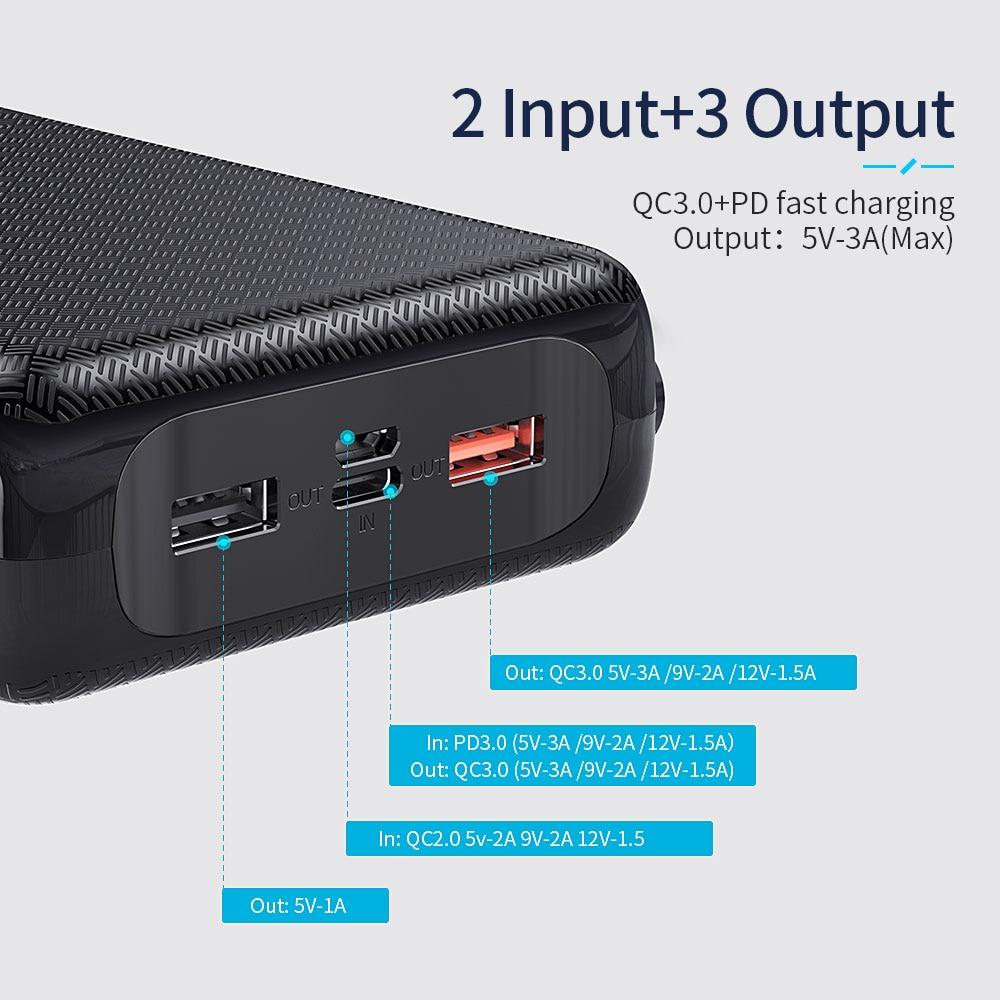 Essager, 30000 мА/ч, зарядное устройство, быстрая зарядка, 3,0 PD, USB C, 30000 мА/ч, зарядное устройство для Xiaomi Mi, iPhone, портативное Внешнее зарядное устройство