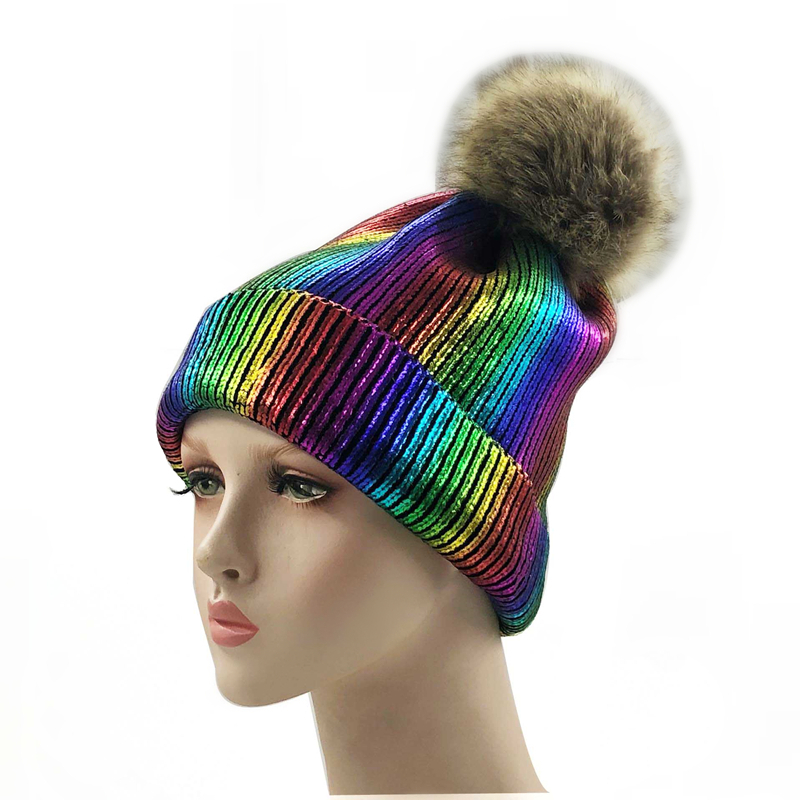 New Winter Metallic Pink Ball Beanie Hat For Women Fluffy Double Faux Fur Pom Pom Knitted Skullies Beanie With Pompom Ski
