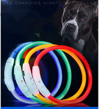 Collar de perro con carga USB ajustable, recargable, tubo LED, parpadeante, nocturno, luminoso, de seguridad, YXL