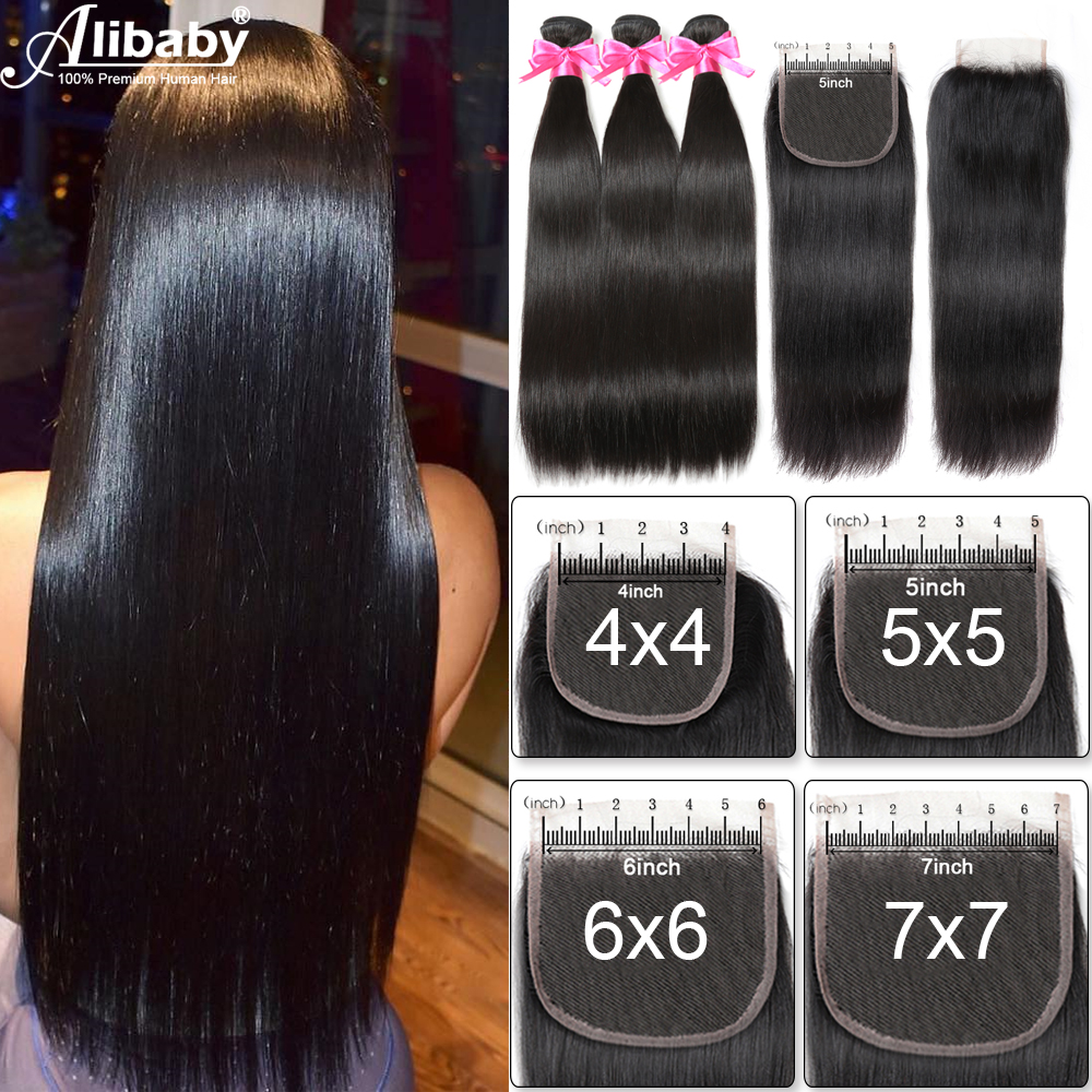 4x4 5x5 6x6 7x7 Lace Closure With Bundles Human Hair Bundles With Closure Straight Remy Hair Extensions Double Weft 8-30 Inch