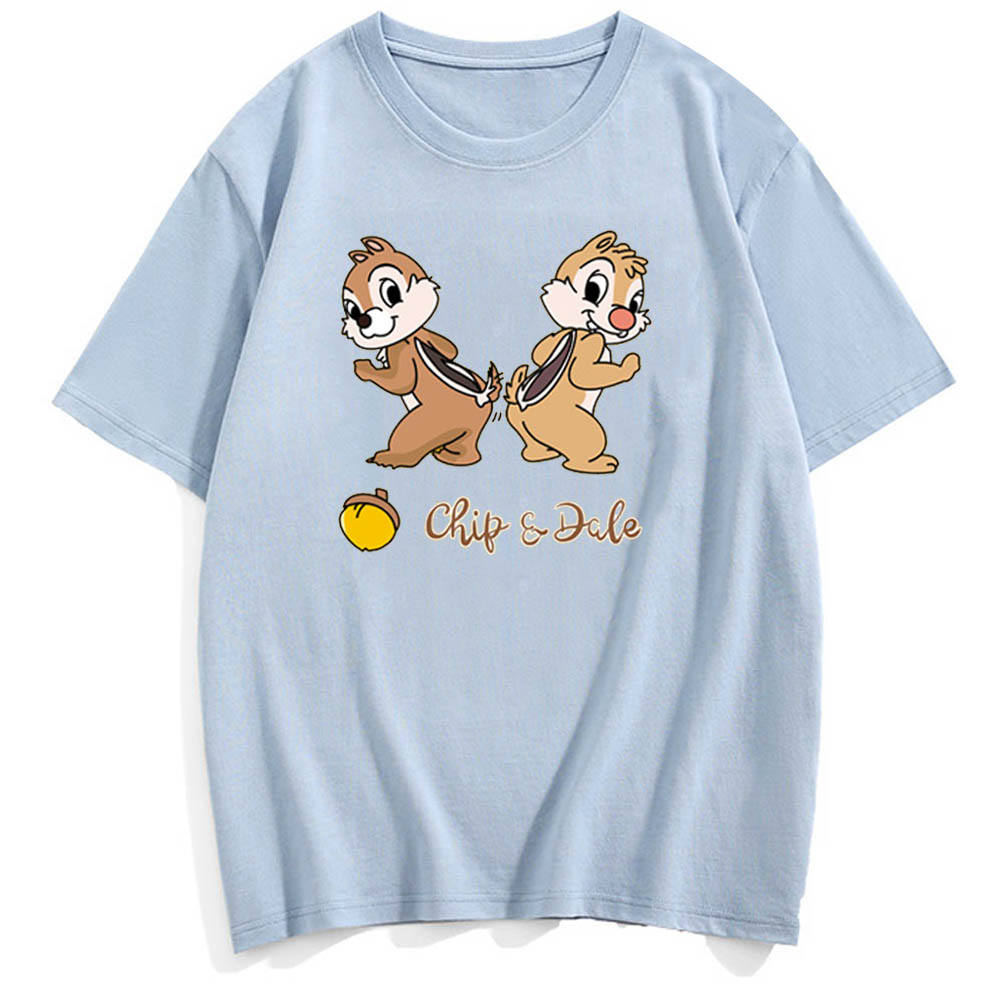 Disney T-Shirt Sweet Chip 'n Dale Cartoon Chipmunk Letter Print Couples Unisex Women T-Shirt Short Sleeve O-Neck Tops 6 Colors
