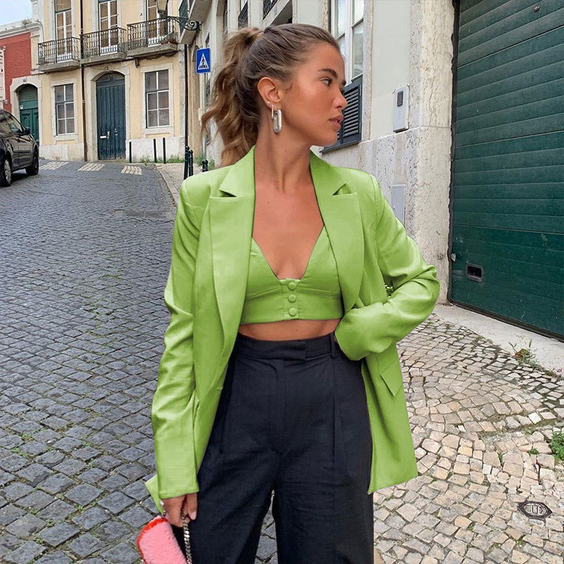 Explosive suit jacket women 2020 autumn fruit green loose mid-length casual jacket