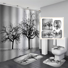 Trees Bathroom Shower Curtain Scenic Printed Waterproof Bath Curtains for Bathtub Bathing Cover Large Wide Hooks