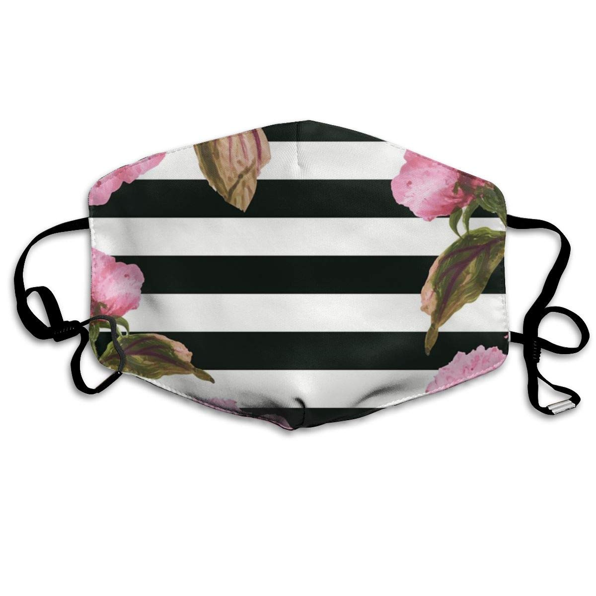 Mouth Mask Striped Flowers Print Masks - Breathable Adjustable Windproof Mouth-Muffle, Camping Running For Women And Men