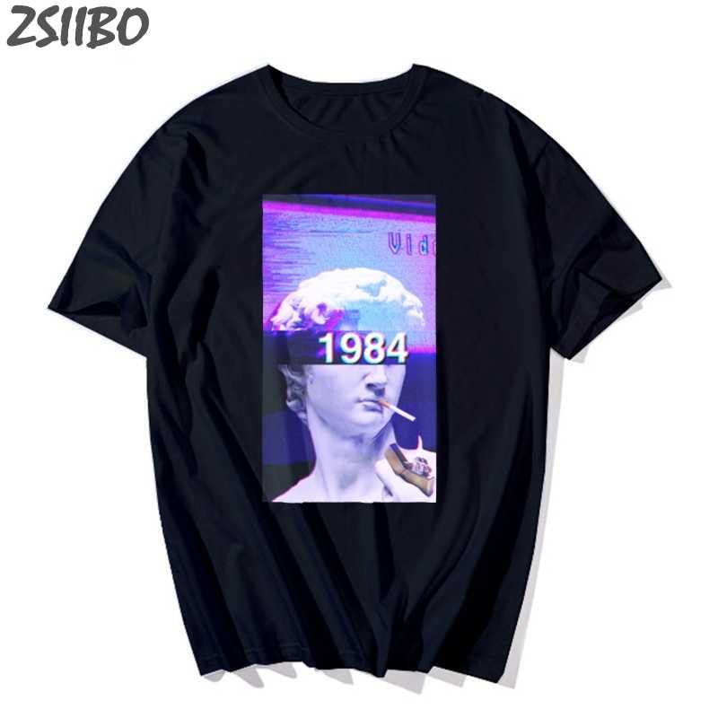 オーバーサイズメンズ tシャツ Vaporwave ミケランジェロ像デビッドおかしい印刷 O ネック半袖 tシャツファッション Tシャツメンズ Tシャツユニセックス
