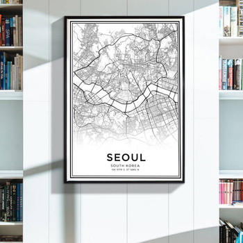 Modern Black And White Map Latitude Longitude Seoul City Poster HD Print South Korea Travel Wall Art Canvas Painting image