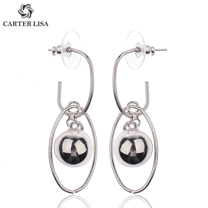 CARTER LISA Simple Long Retro Trendy Oval Dangle Earrings For Women Ethnic Vintage Boho Jewelry Gifts Present Pendientes