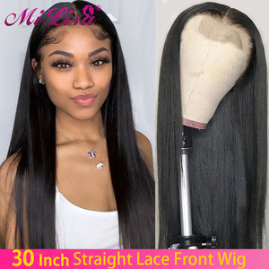 4x4 Closure Wigs Straight Human Hair Wigs 30 Inch Remy Hair PrePlucked Brazilian Lace Front Human Hair Wigs For Black Women(China)