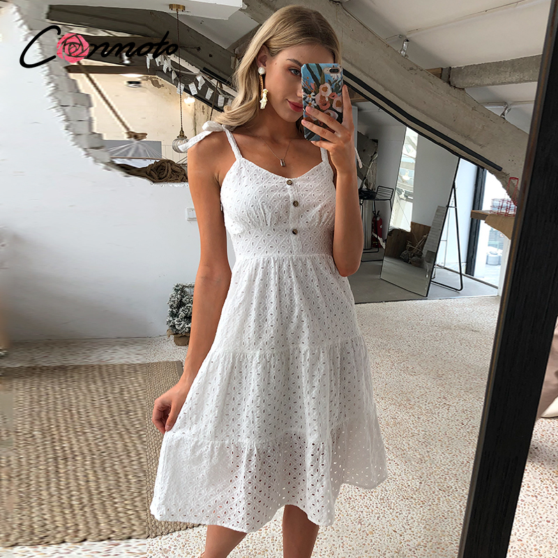Conmoto Summer Beach Casual White Robe Femme Dress Women Bow Shoulder Embroidery Hollow Out Mid Dress Backless Dresses Vestidos