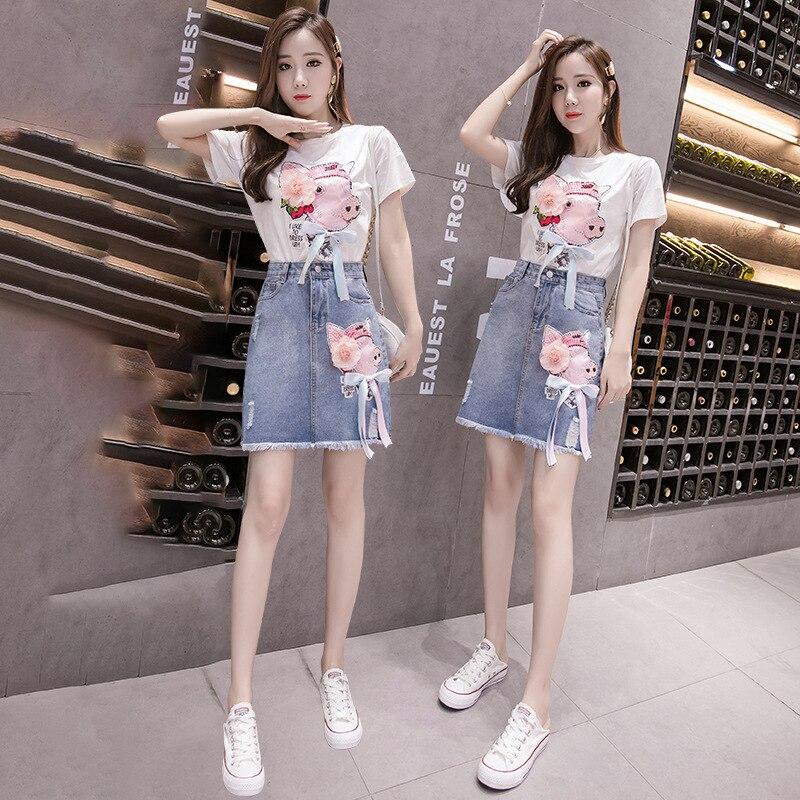 New Style Super Fire INS Denim Skirt Stereo Flower Decoration Beauty Korean-style Casual Elegant Skirt Women's Fashion