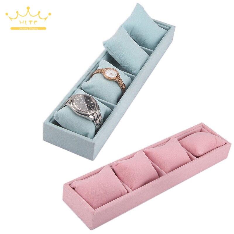 Bracelet Tray 4 Grids Jewelry Display Box Jewelry Pillow Display Prop Watches Bracelet Showcase Watch Tray