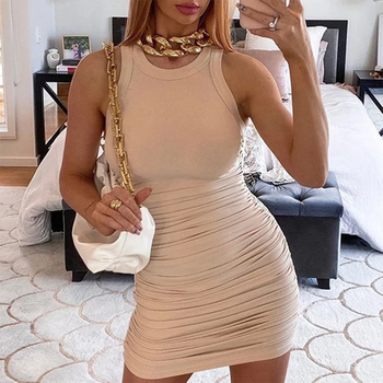 Women Solid Sleevess Dress Summer Casual Fashion Ruched One Piece Dress Stylish Stretchy Dress Sexy Bodycon Party Clothes 2
