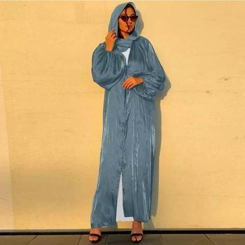 Eid Djellaba Abaya Dubai Shiny Soft Puff Sleeves Muslim Dress Satin Abaya Dubai Turkey Muslim Dress Islam Abayas With Belt WY56 1