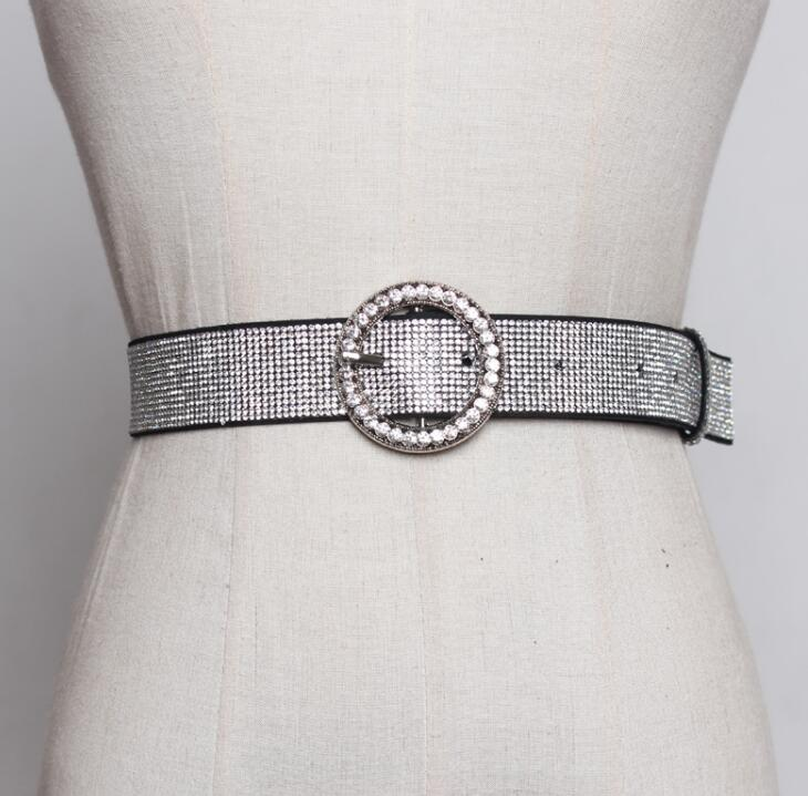 Women's Runway Fashion Diamonds Beaded Cummerbunds Female Dress Corsets Waistband Belts Decoration Wide Belt R1851