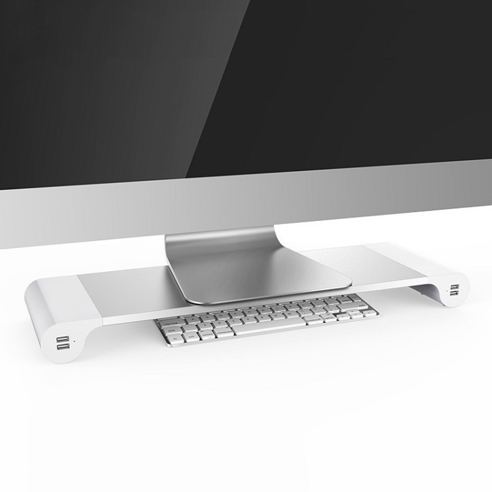 Multi-Function Desktop Monitor Holder with 4-Ports USB Charging Base Aluminum Alloy Computer Screen Laptop Notebook Stand Riser 3
