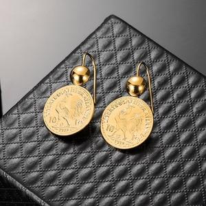 Image 3 - Винтажные висячие серьги подвески с гравировкой монеты для женщин 10 монета Франк круглая серьга Подвеска Серьги Прямая поставка