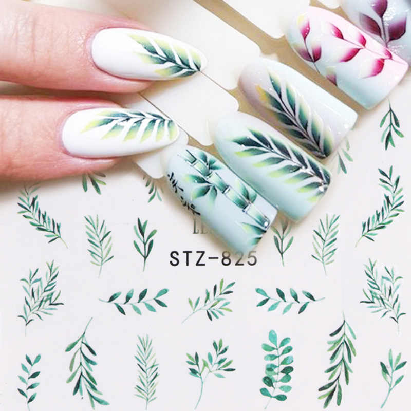 Fashion 29pcs  Water Sticker Simple Green Black Leaf  Nail Polish Flower Flamingo Slider  Manicure Nail Art Decoration Wraps Set