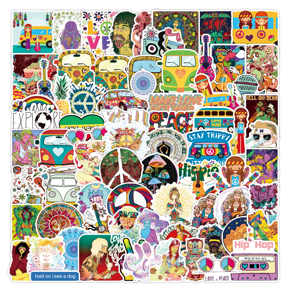 50/100Pcs Pack Retro Hippies Stickers Love and Peace Bus Stickers for Car Laptop Luggage Skateboards Diary Stationery Decal