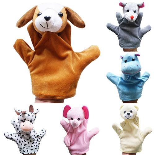 10 Style Big Hand Puppet Animal Plush Toys Baby Cloth Educational Cognition Hand Toy Finger Dolls Wolf Pig Tiger Dog Puppet