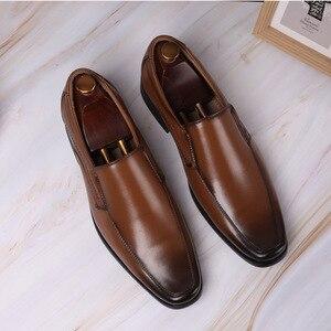 Image 5 - أحذية رجال الأعمال الكلاسيكية موضة أنيقة أحذية الزفاف الرسمية الرجال الانزلاق على مكتب أكسفورد أحذية للرجال LH100006